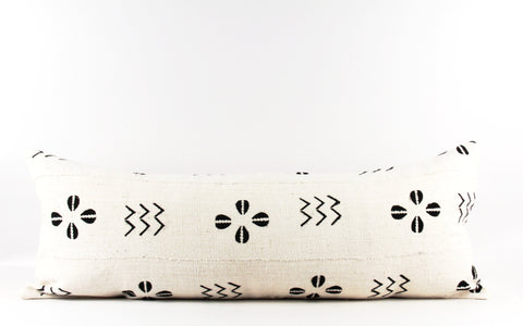 Ivory Shells Mudcloth Pillow  Large Lumbar
