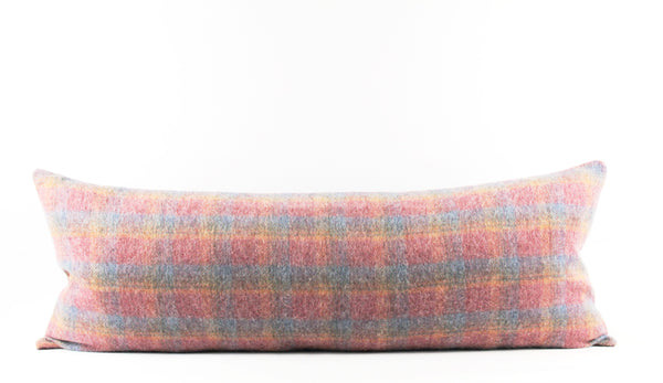 pink wool plaid pillow