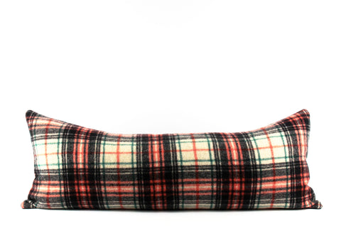 plaid wool large lumbar pillow