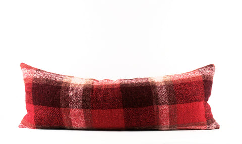 red plaid mohair pillow