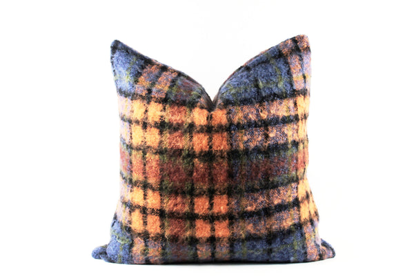 Orange and blue mohair plaid throw pillow