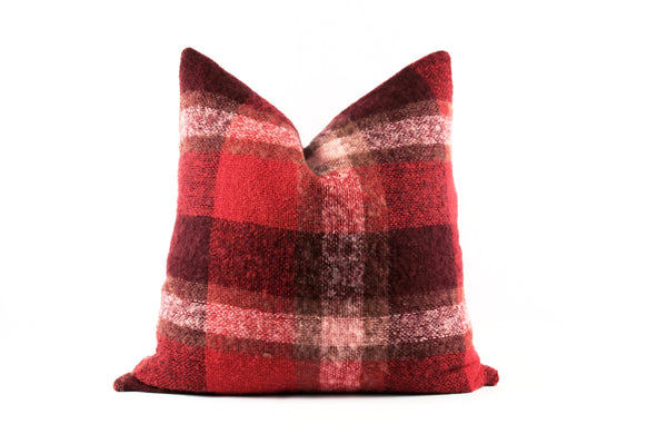 red mohair pillow