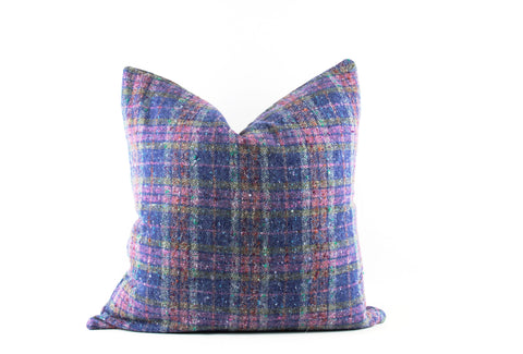blue pink plaid pillow 22 x 22