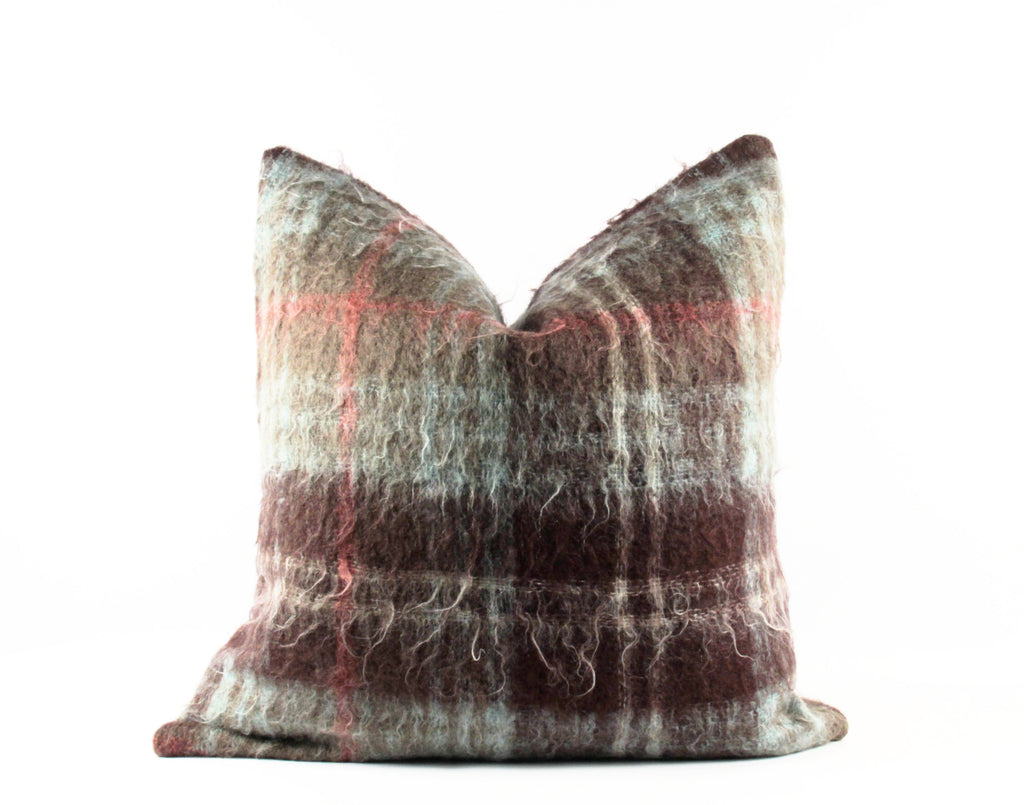 brown and green plaid mohair pillow
