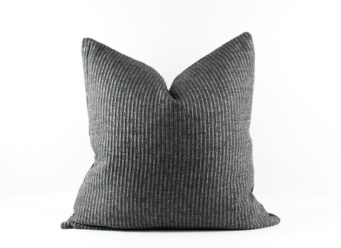 Charcoal grey designer wool pillow