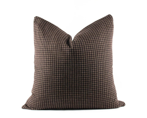 chocolate brown checkered throw pillow