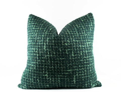 Designer green boucle accent pillow
