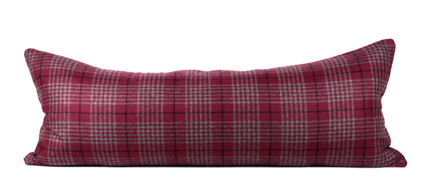 Maroon plaid lumbar pillow