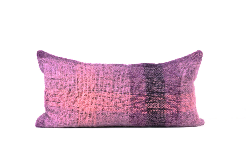 Purple mohair throw pillow