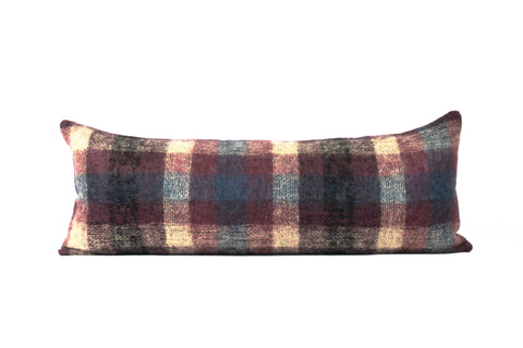 Designer purple plaid mohair throw pillow