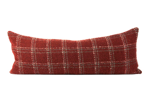 Red plaid bed throw pillow