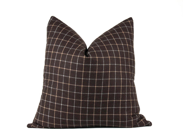 brown plaid euro throw pillow