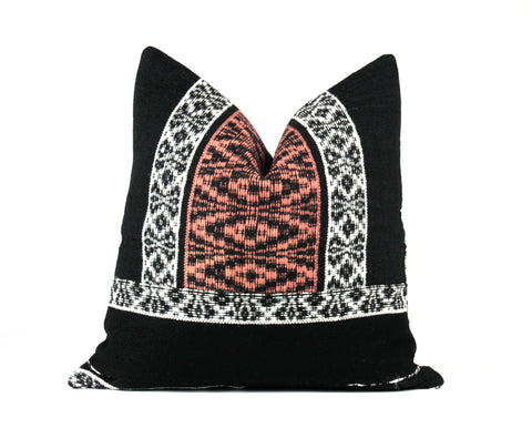 Designer tribal woven wool throw pillow