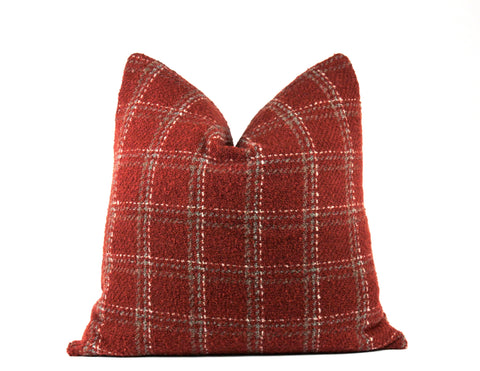 Designer red plaid wool throw pillow
