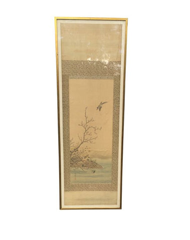 1800's Japanese Gouache on Pith Framed Scroll Original Art 19th Century