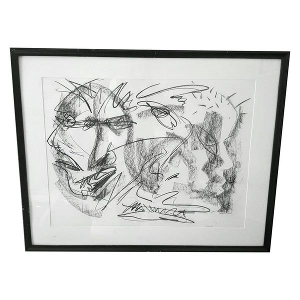 Original Abstract Charcoal Faces Drawing