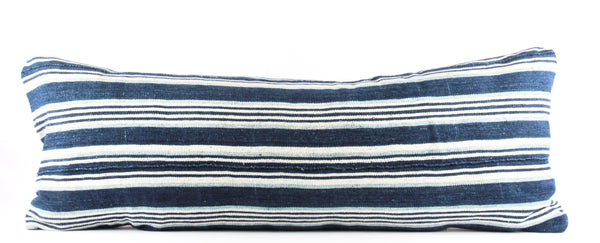 Blue Striped Mudcloth Pillow  Large Lumbar front
