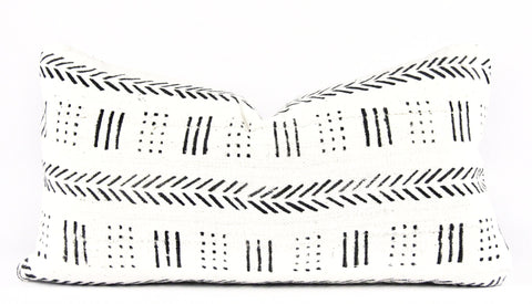 Jungle Ivory Mudcloth Pillow  Small Lumbar front