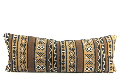 Cocoa Mudcloth Pillow  Large Lumbar
