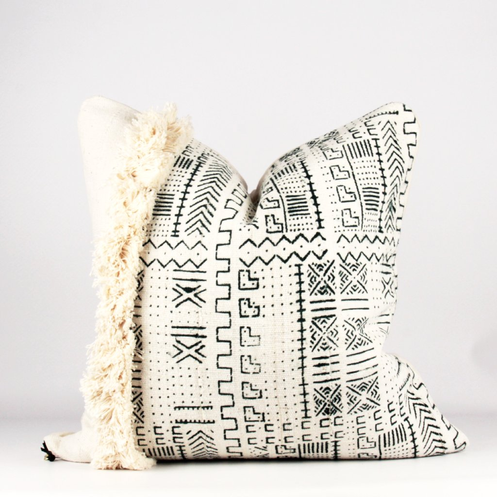 white fringe mud cloth pillow