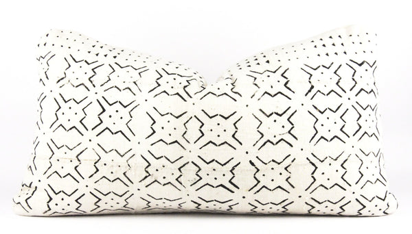 Star Burst Ivory Mudcloth Pillow  Medium Lumbar front
