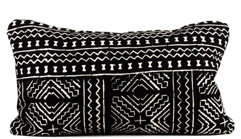 Maze Black Mudcloth Pillow  Medium Lumbar front