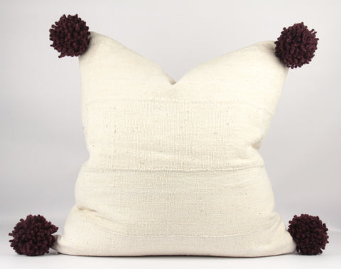 Wine Pompom MudCloth Pillow  custom sizes front