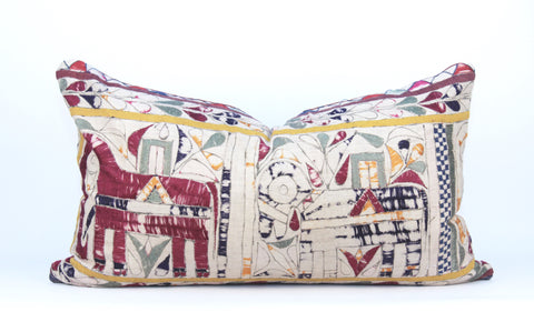 Embroidered Elephants Pillow  Medium Lumbar front
