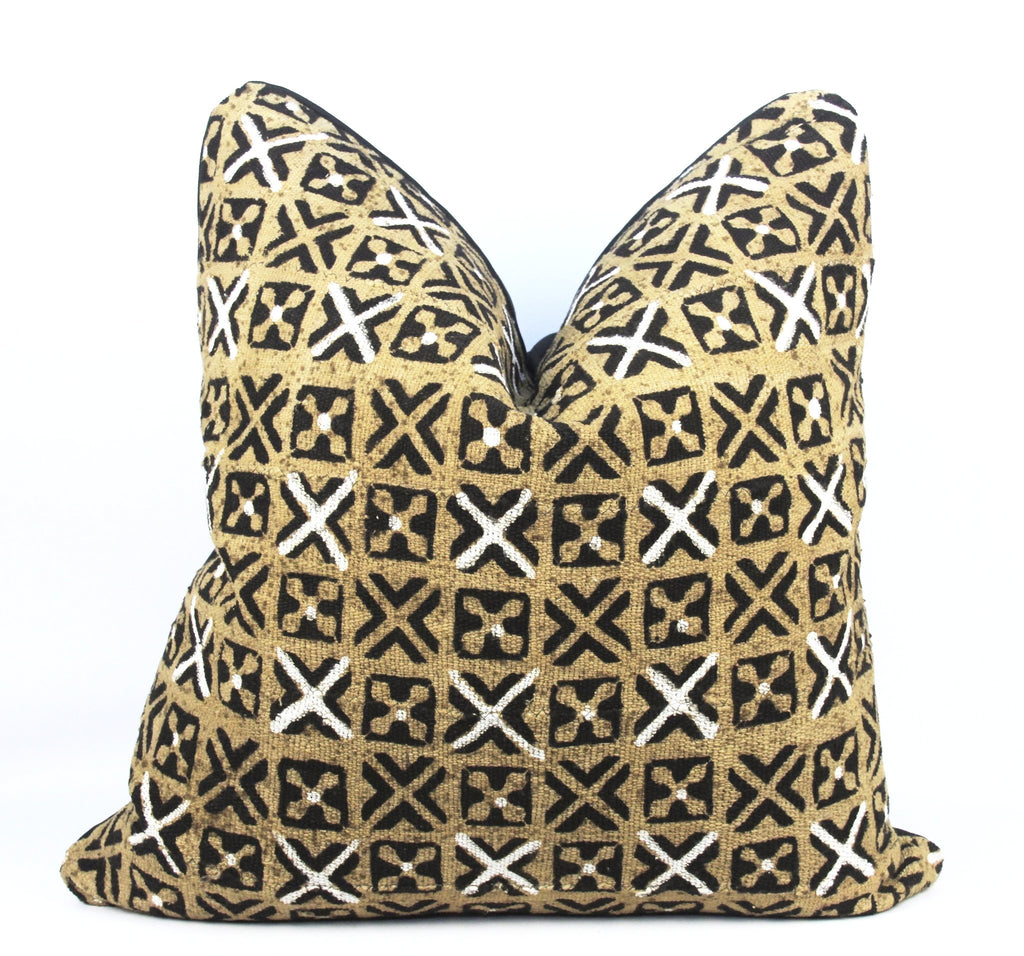 Serengeti Mudcloth Pillow Yellow  24