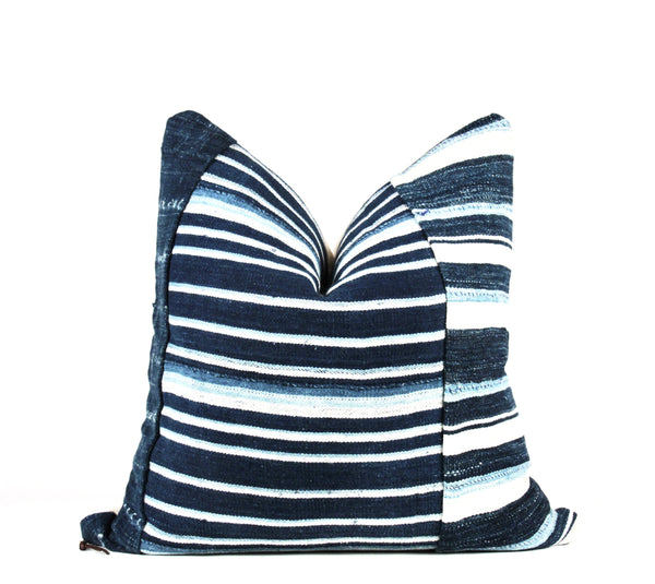 grain sack striped mud cloth pillow