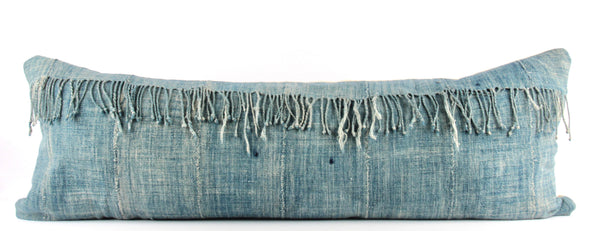 Fringe Solid Blue Mudcloth Pillow  Large Lumbar front