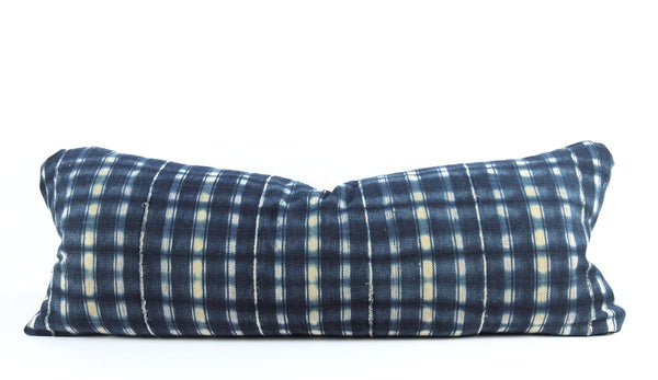 Indigo Plaid Mudcloth Pillow Large Lumbar front