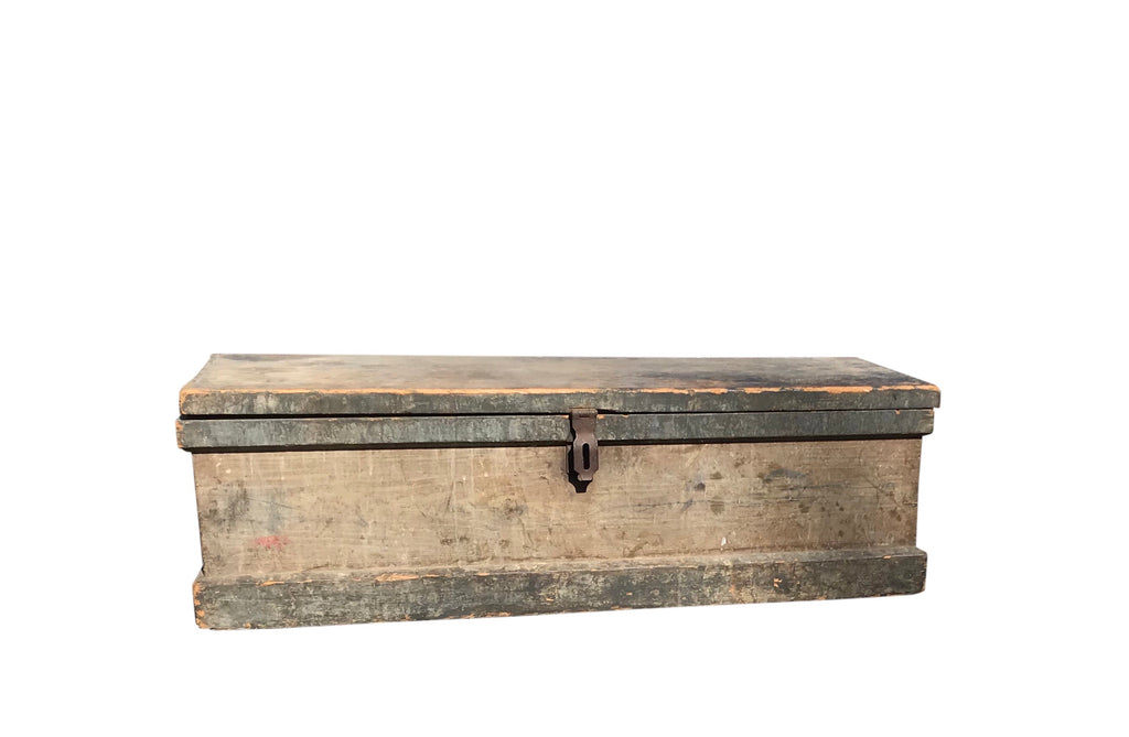 Antique American Distressed Navy Blue Chest front