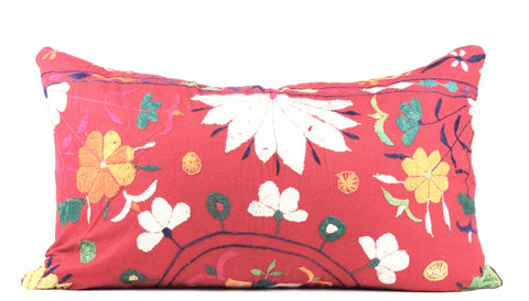 Floral Array Embroidered Pillow  Medium Lumbar front