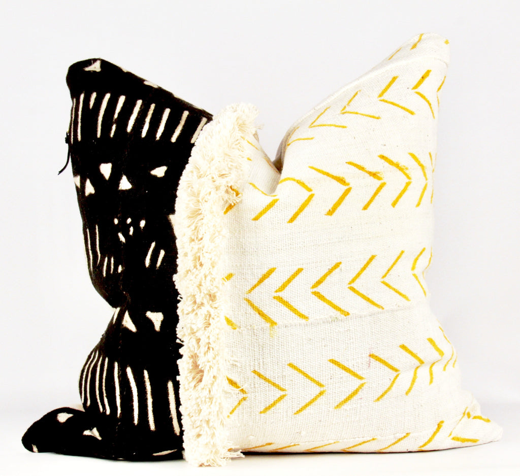 mixed fringe mud cloth pillow