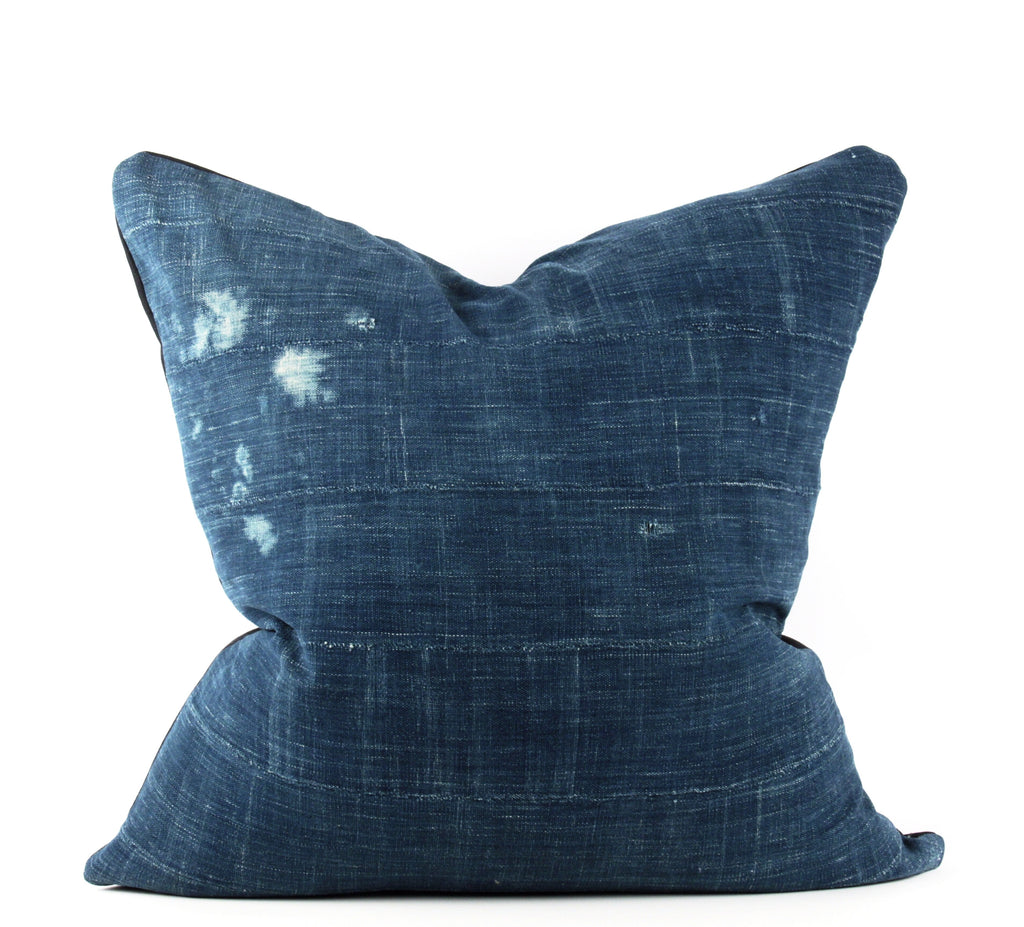 Map Solid Indigo Mudcloth Pillow  22