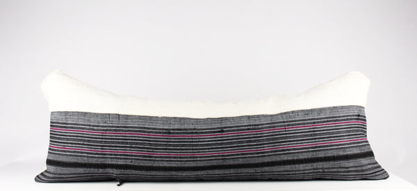 mud cloth hmong mixed large lumbar pillow