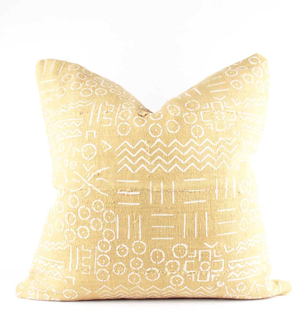 Dandy Yellow Mudcloth Pillow  22