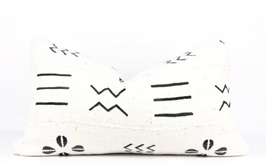 Ivory Shells Mudcloth Pillow  Small Lumbar front