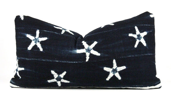 Stars in Blue Mudcloth Pillow  Small Lumbar front