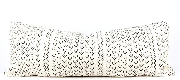 Dance Ivory Mudcloth Pillow  Large Lumbar front