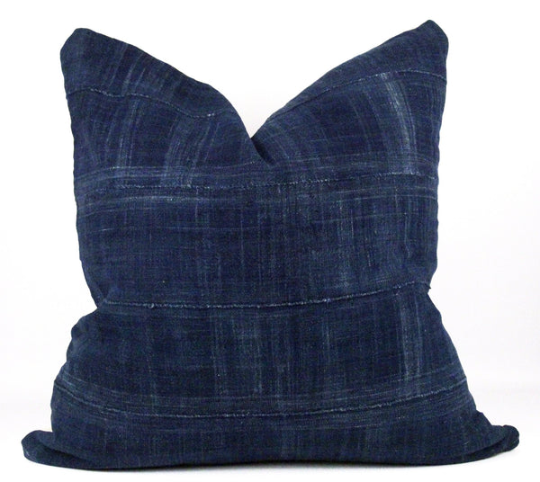 Dark Solid Indigo Mudcloth Pillow  22