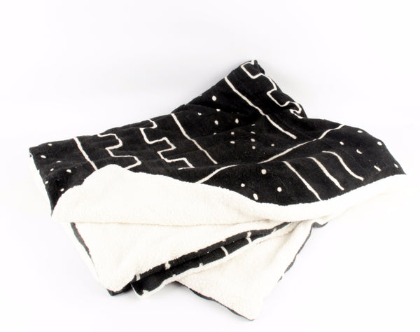 Pebble  Mudcloth Throw Blanket folded