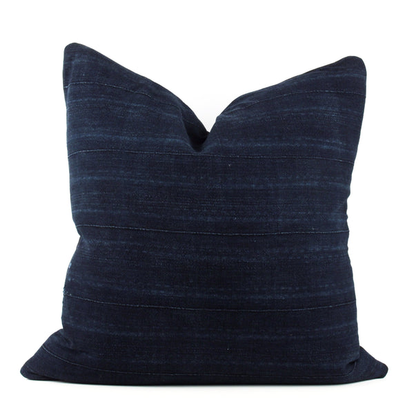 Blended Blue Striped Mudcloth Pillow  22