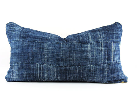 Solid Blue Mudcloth Pillow  Small Lumbar
