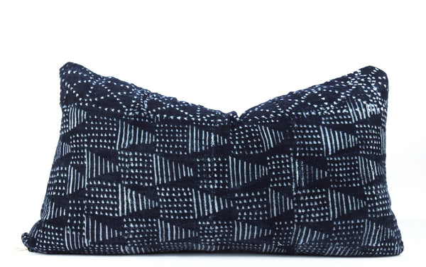 Mountains Indigo Mudcloth Pillow  Small Lumbar front