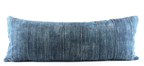 Solid Blue Mudcloth Pillow  Large Lumbar front