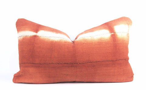 Orange Shibori Mudcloth Pillow  Lumbar front