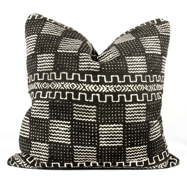 Redux Black Mudcloth Pillow  24