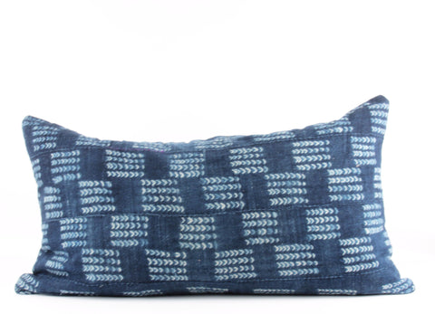Arrows Indigo Mudcloth Pillow   Medium Lumbar front
